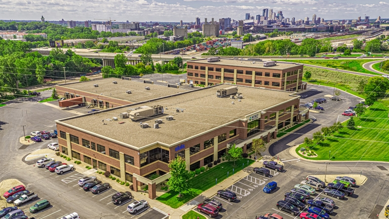An aerial image of the Sourcewell Technology office building in St. Paul, Minnesota
